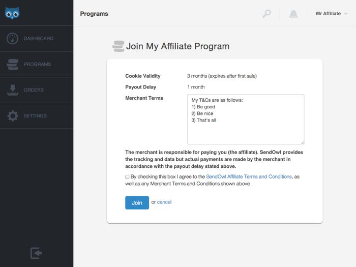 Joining an affiliate program | SendOwl