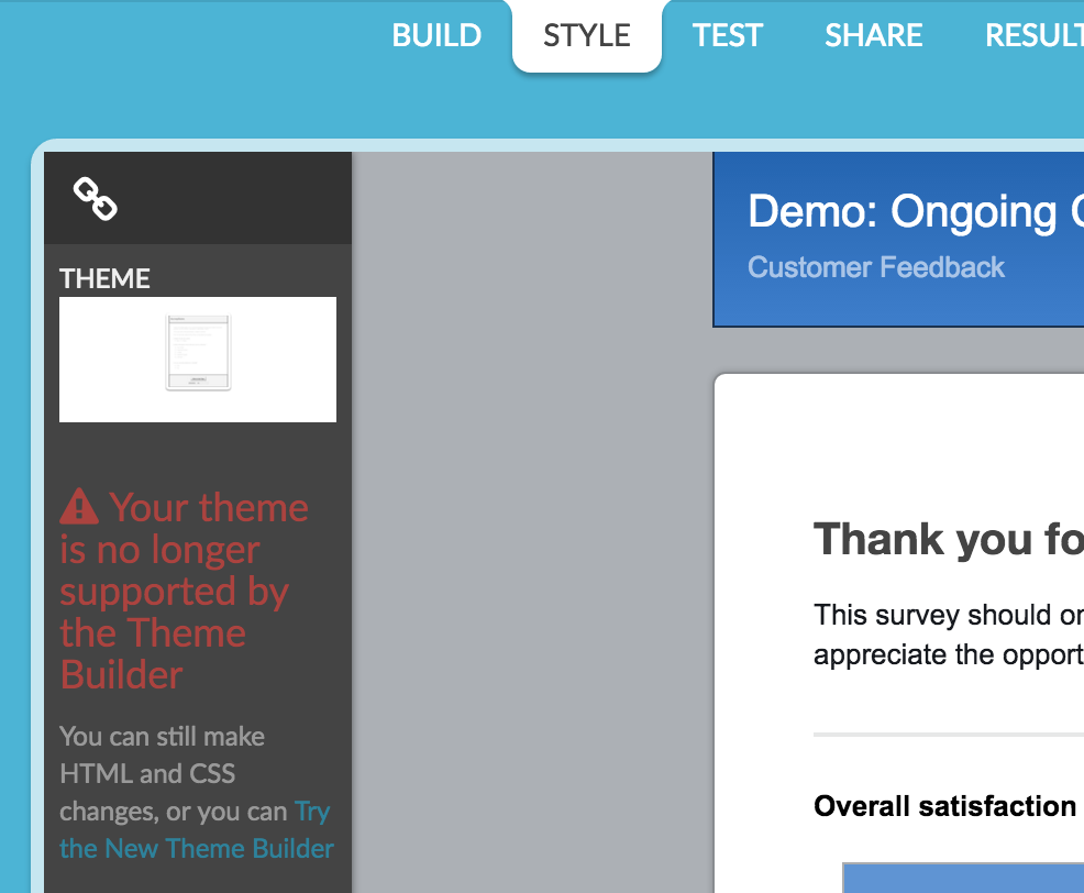 moving over to the new and improved theme builder surveygizmo help