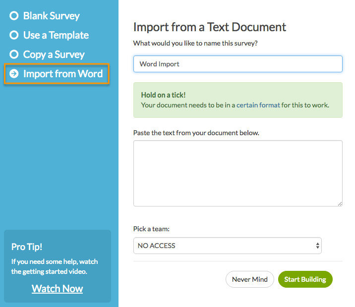 Create a Survey from a Word Doc | SurveyGizmo Help