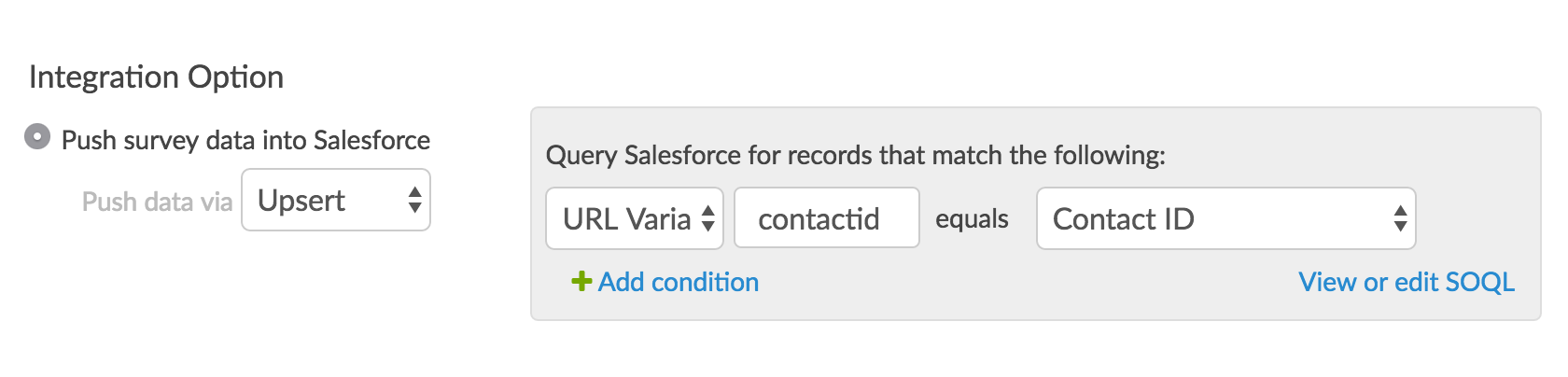 Identify the survey field that contains the unique Salesforce ID