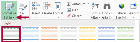 Image shows table formatting in Excel.