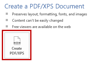 Identifies the Create PDF/XPS button.