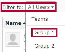 identifies Filter to dropdown and a listed group.