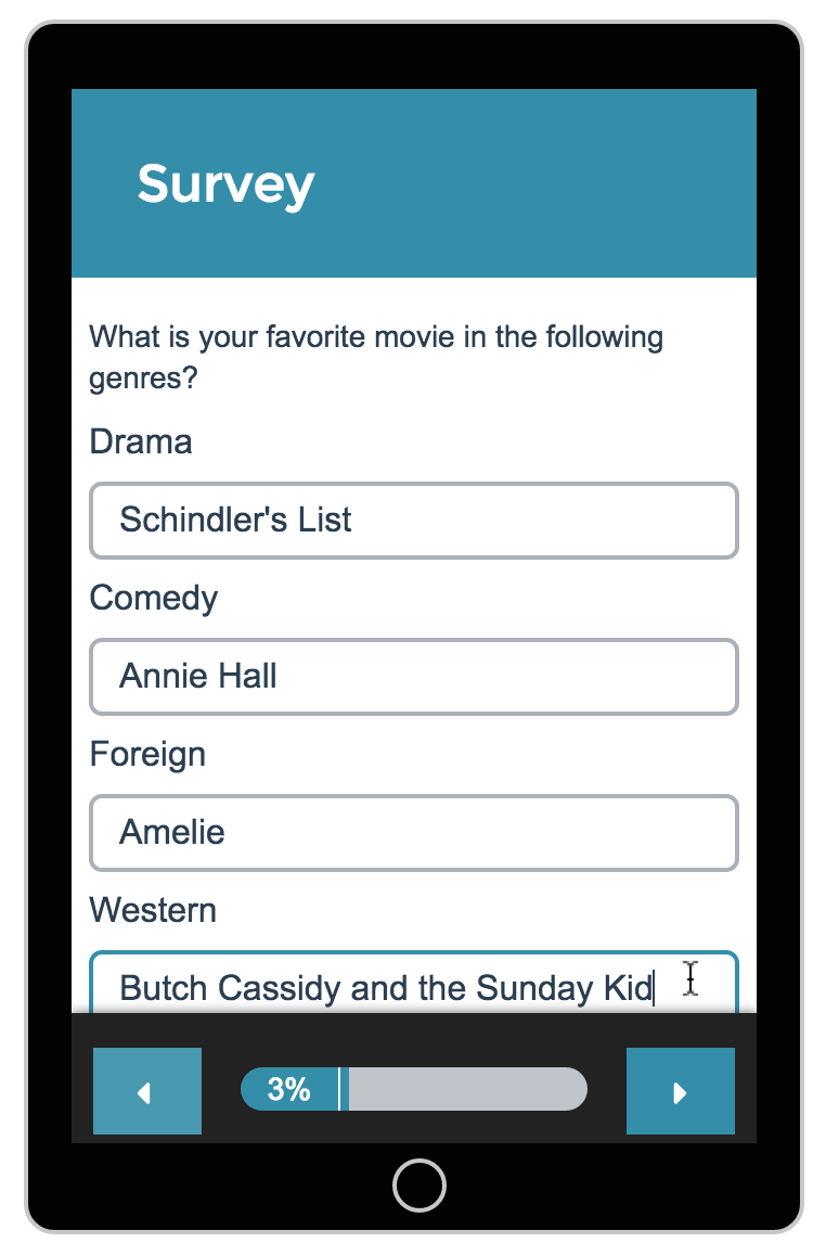 Textbox List Survey Taking on Mobile