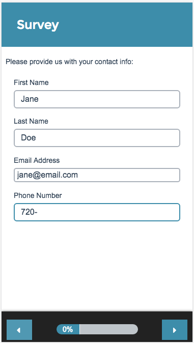 Contact Form Survey Taking on Mobile