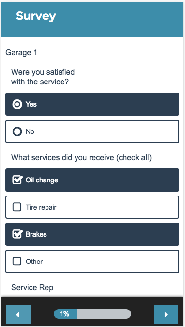 Custom Table Survey Taking on Mobile
