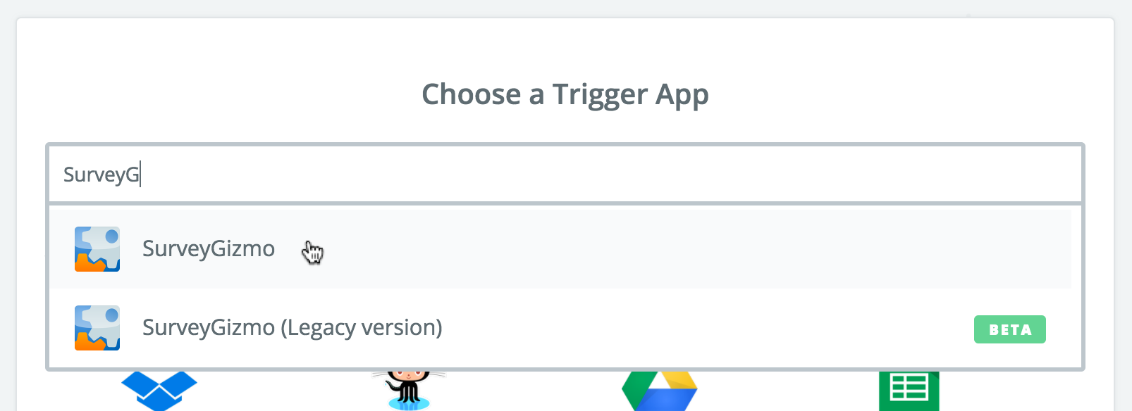 Zapier: Choose a Trigger App
