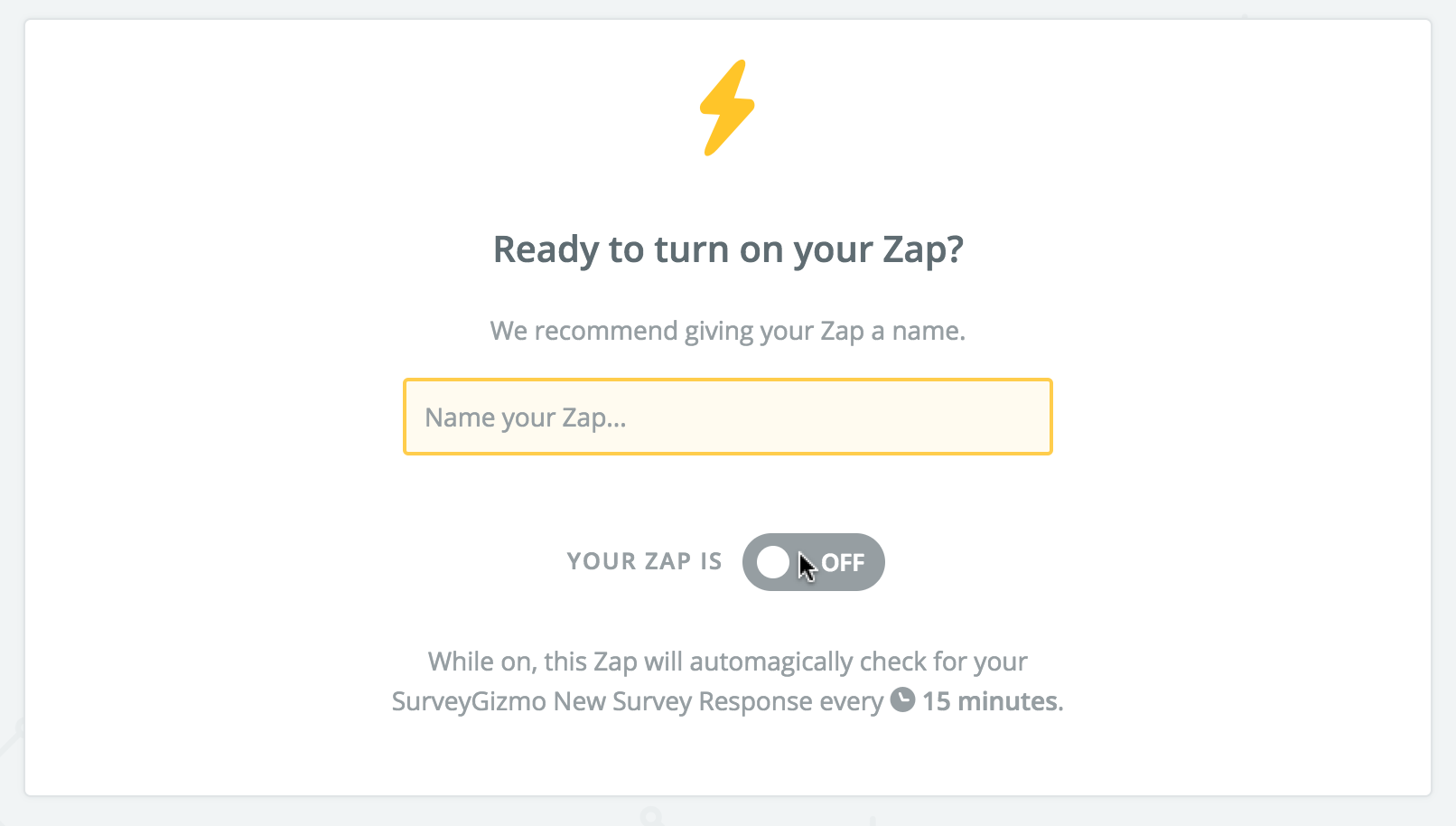 Zapier: Turn on Your Zap