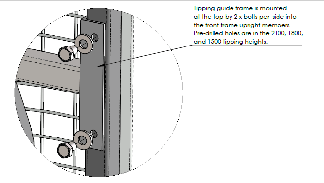 Remove the tipping track guide