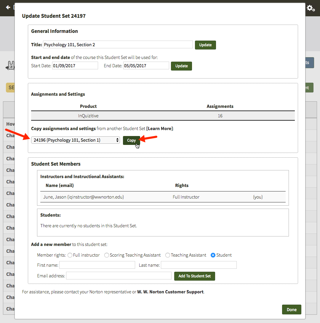 assignment setup and controls w w norton if you would like to copy the assignments and settings from another instructor s student set select copy from another instructor s student set from the