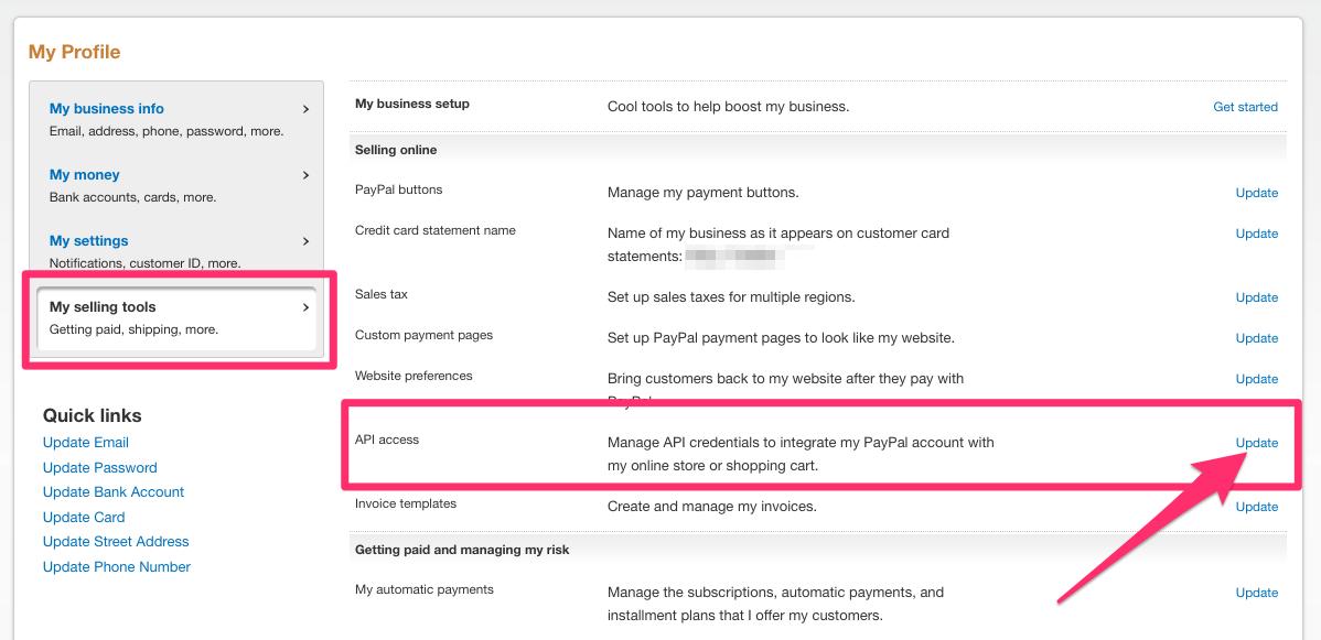 Adding PayPal API keys | SendOwl