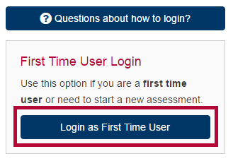 Shows SmarterMeasure Login screen and identifies First Time User Login button.