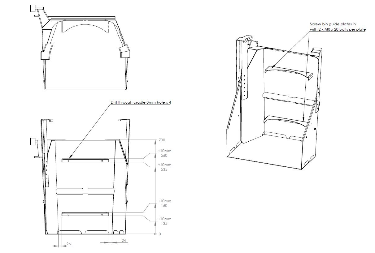 Multi-Tip BRUTE® bin catch-plates layout drawing 3