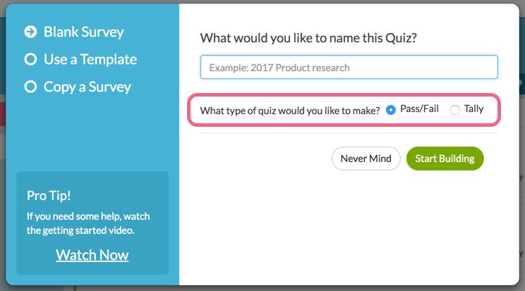 Create a New Quiz   SurveyGizmo Help