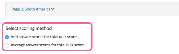 Choose the Tally Quiz scoring method