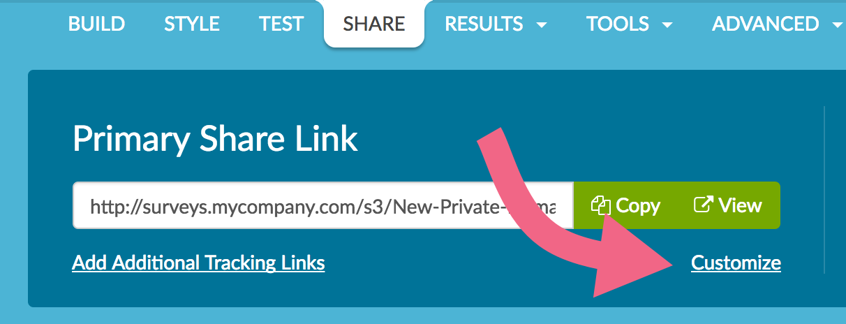 Customize Primary Share Link