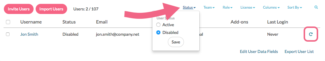 Filtering to view disabled users