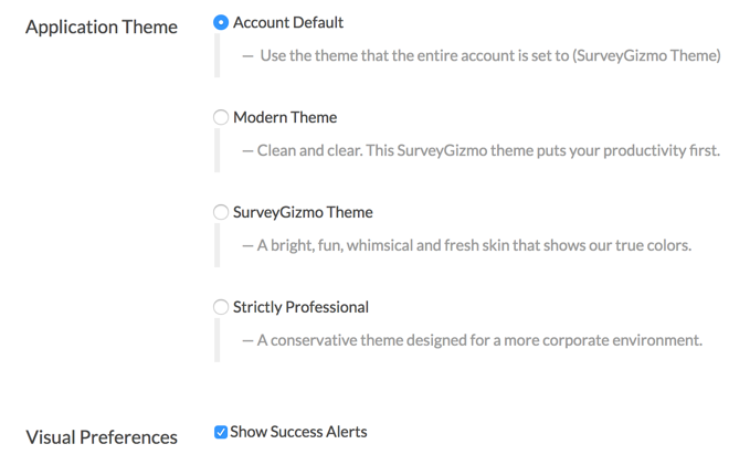 Application Theme Options