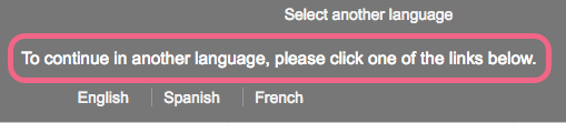 Language Bar Instructional Text