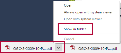 Identifies the downloaded file and the Show in folder option.
