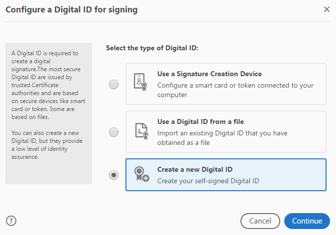 Shows Create a new Digital ID option.