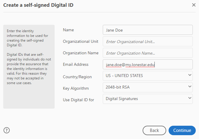 Shows the Create a self-signed Digital ID options.