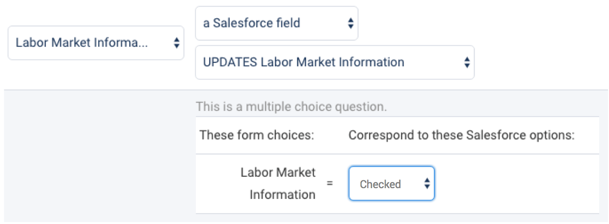 field mapping multiple choice fields send as values checkboxes