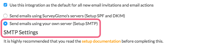 Setup SMTP Integration
