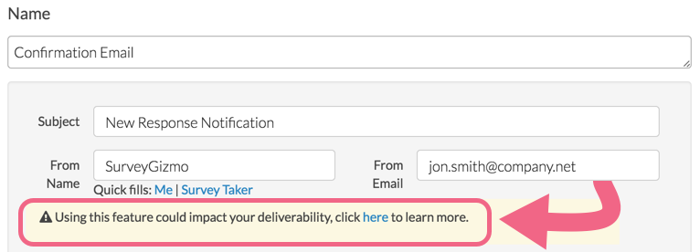 Change From Address: Previous Method for Email Actions