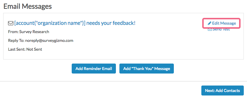 Send Your Survey Via Email: Edit Message