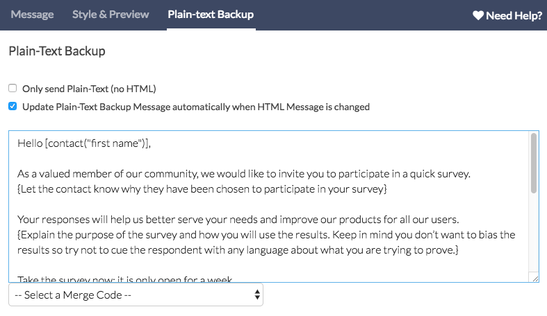 Send Your Survey Via Email: Plain Text Message