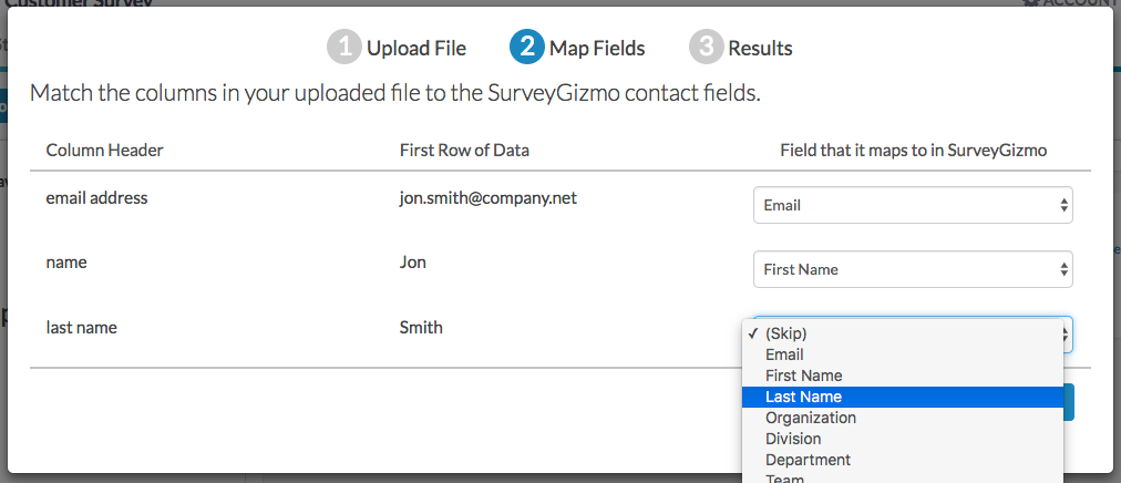 Send Your Survey Via Email: Map Contact Fields
