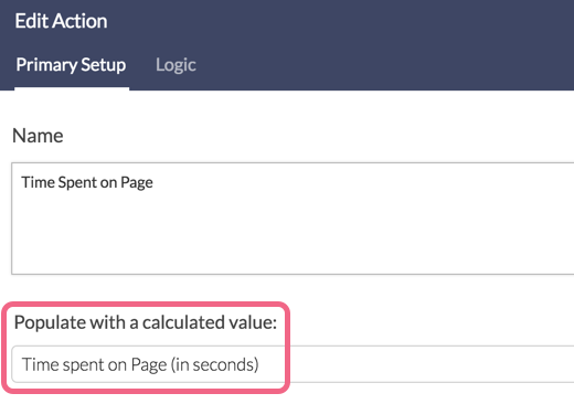Time Spent on Page Via Hidden Value