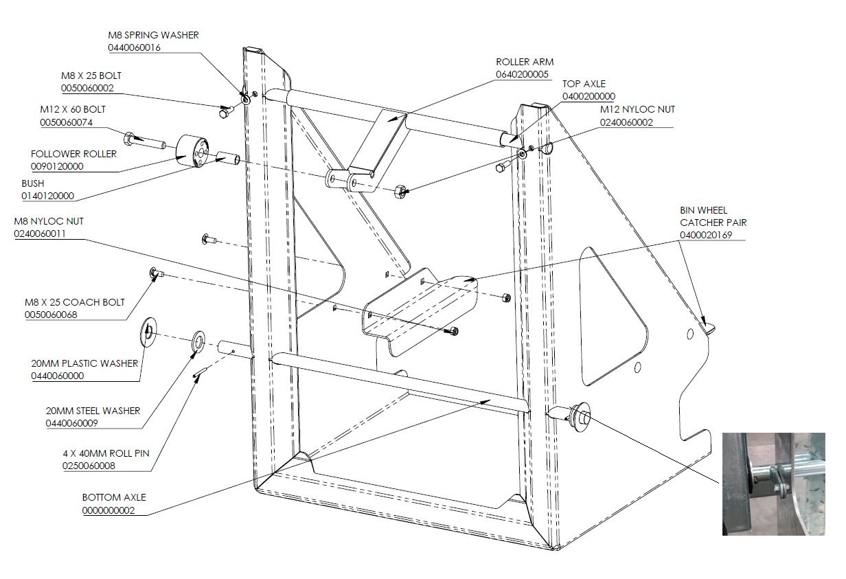 Exploded diagram of the Dumpmaster cradle assembly