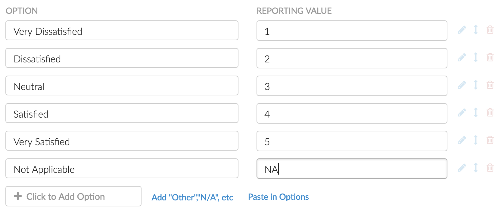 Reporting Values: Custom Values Example
