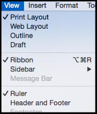 word for mac view menu