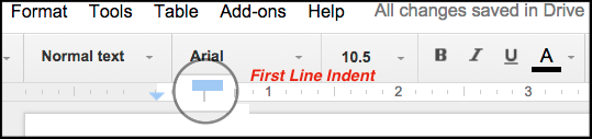 indentation ruler in docs