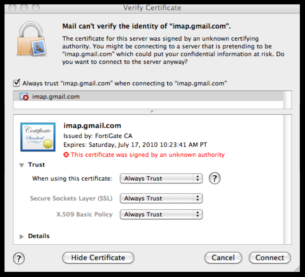 connecting to imap/pop