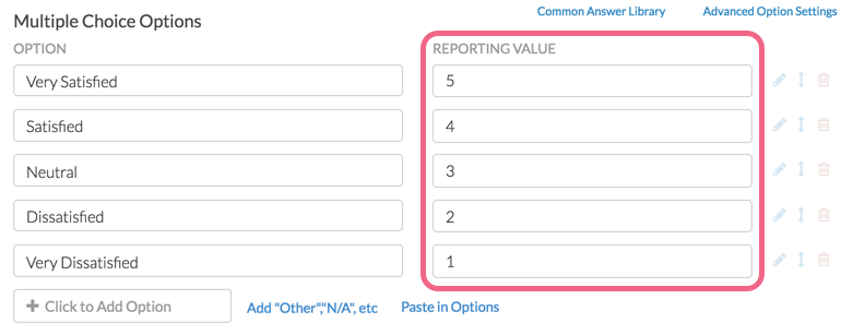 Numeric Reporting Values
