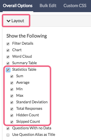 Add Statistics Table To Compatible Questions