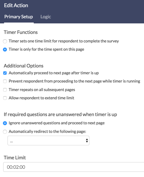 Page Timer: Time on Page Settings