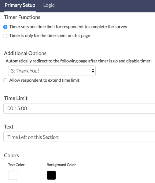 Page Timer: Survey Limit