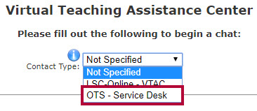 Identifies the OTS - Service Desk option.