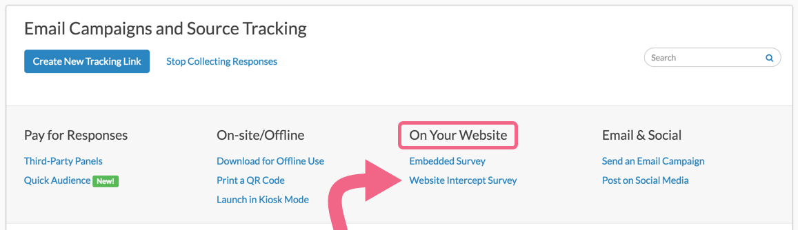 Create a Website Intercept Survey Link