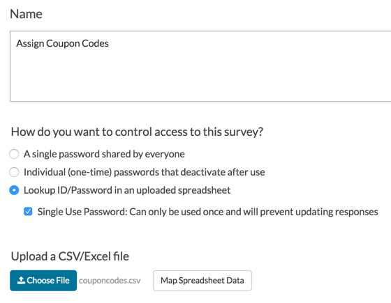 Create a coupon code surveygizmo help login action setup fandeluxe Choice Image