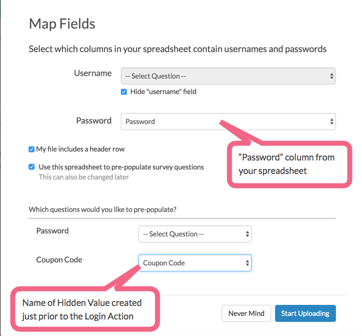 Login Action: Map Fields