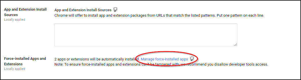 Google Admin Console Manage Force Installed Apps
