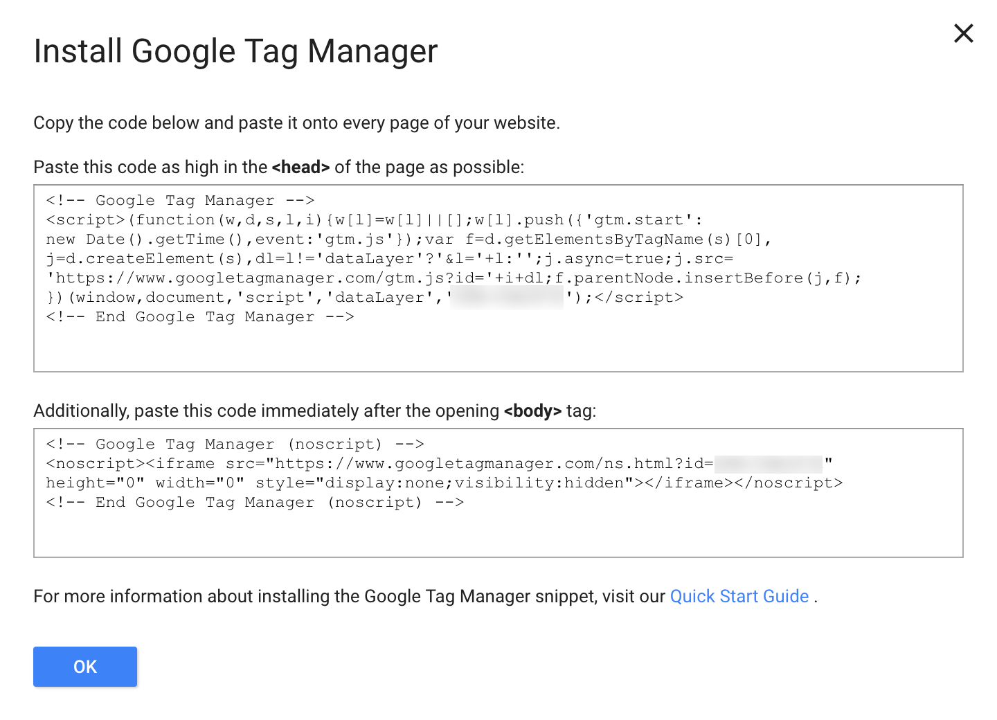 Google Tag Manager Install Codes