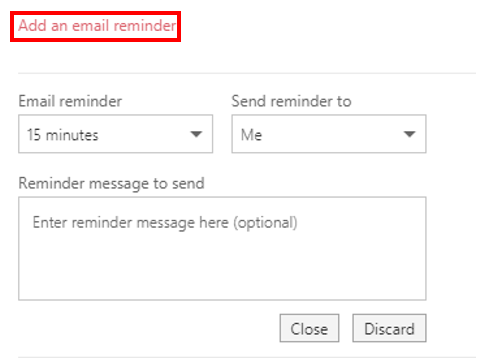Add an email reminder