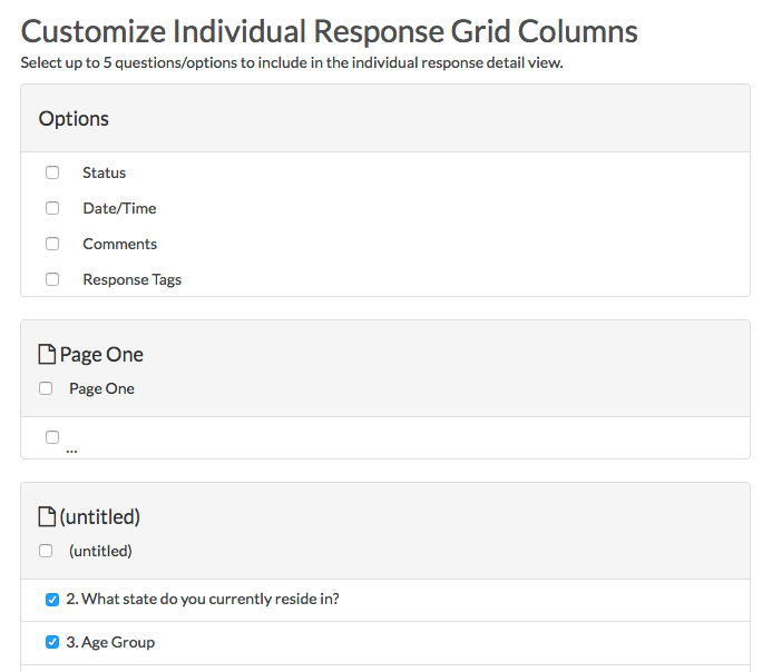 Customize Individual Response Grid - Step 2